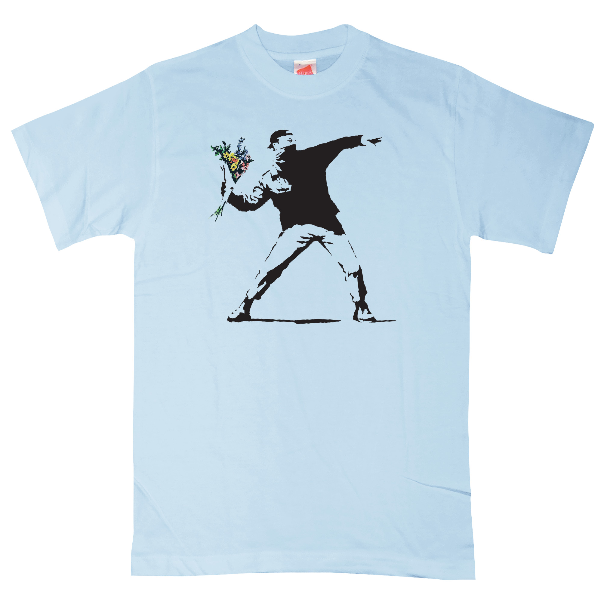 Mens banksy t shirt throwing flowers ebay How to sell shirts