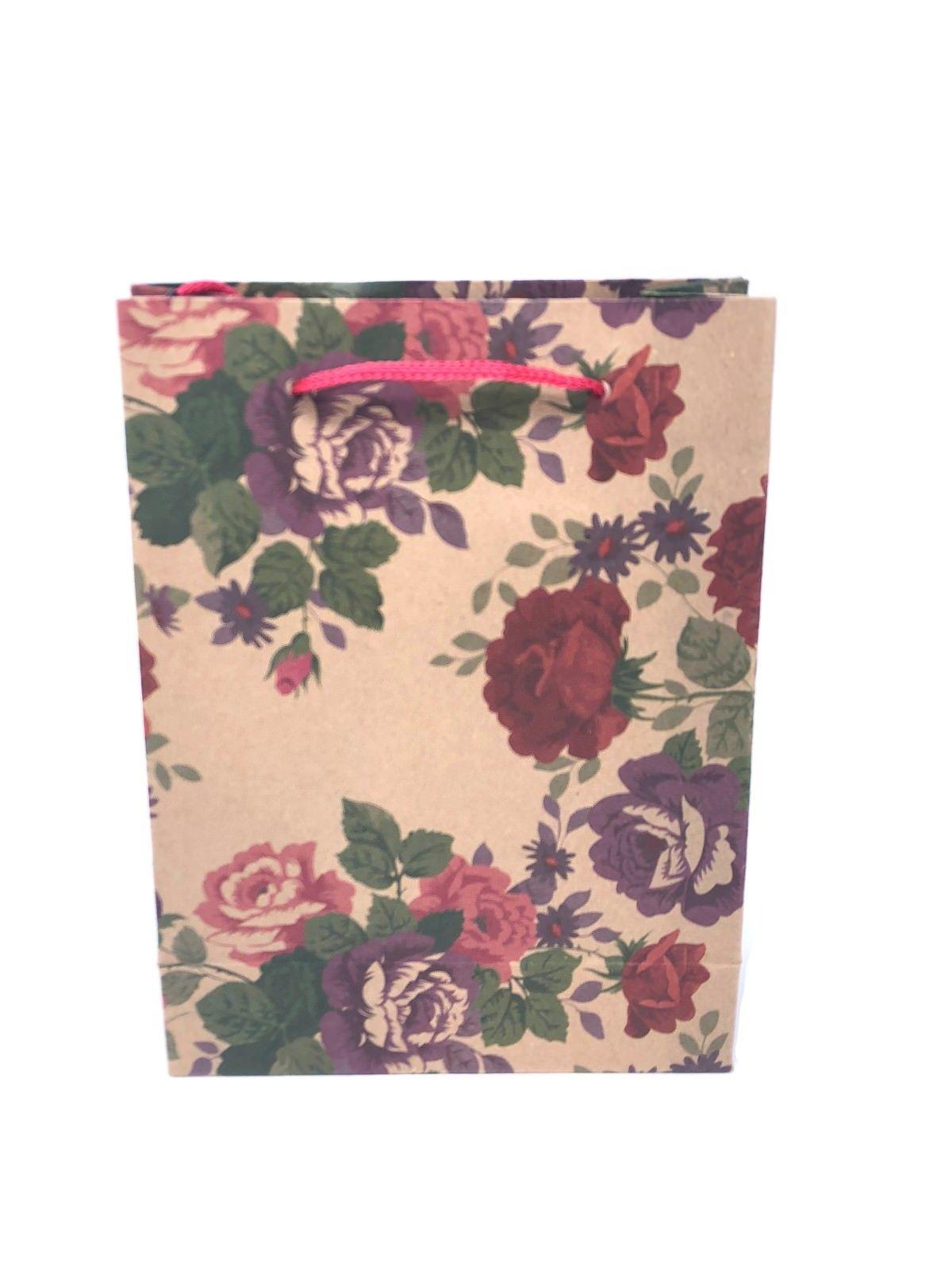 Paquete De 12 Natural Marrón Floral Mariposas Estampado Bolsas de Regalo por mayor comprar a granel