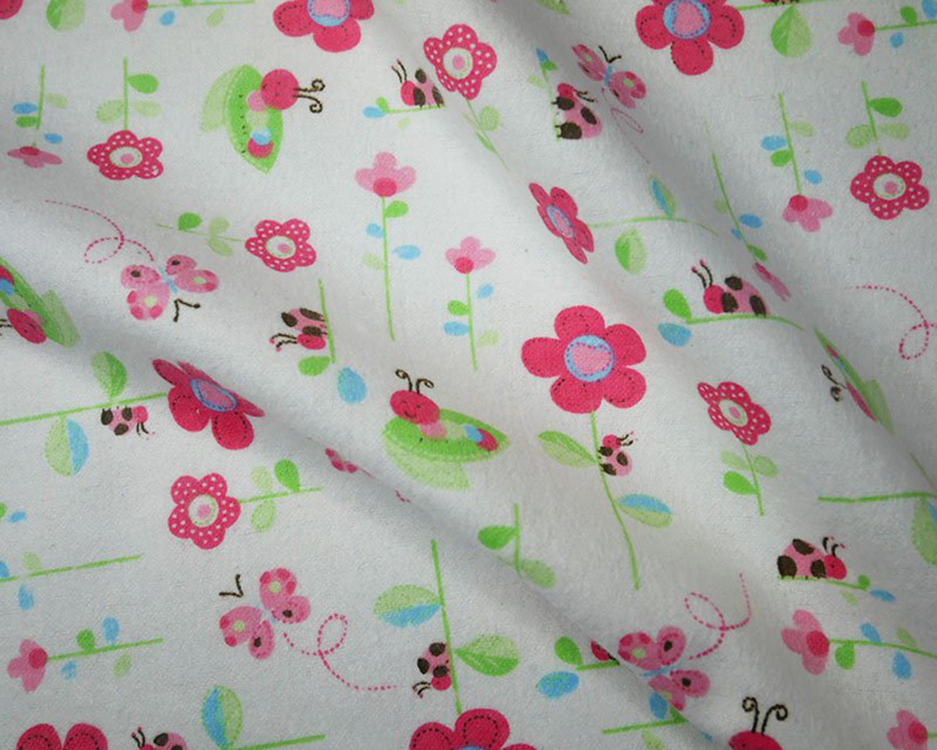 Brushed Cotton Fabric Small Flowers Flannel Super Soft On Both Sides Butterfly