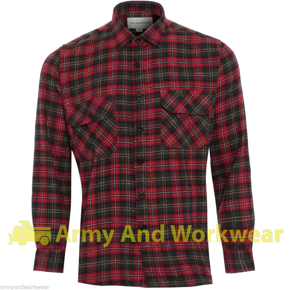lumberjack woven check warm flannel work mens casual