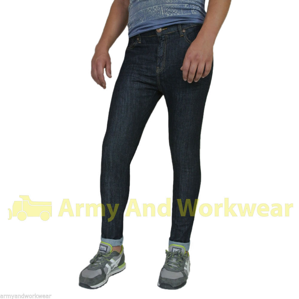 Stretch Spray On Fit Skin Super Tight Mens Denim Jeans Skinny