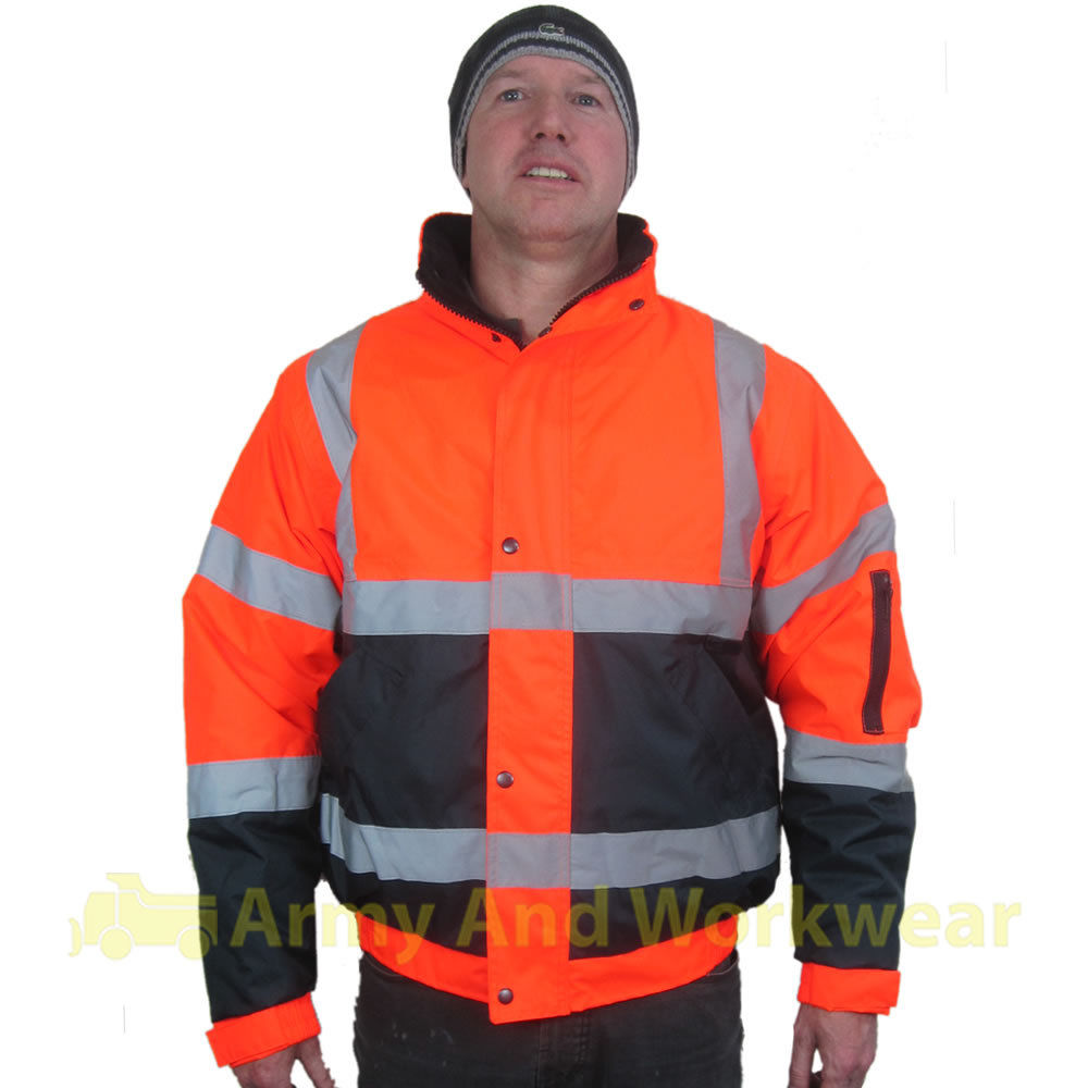 Two Tone Hi Viz Bomber Mens Reflective Waterproof Padded Warm Work ...