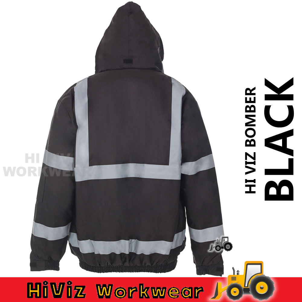Hi Viz Security Bomber Waterproof Storm Padded Jacket Warm Mens Coat Workwear