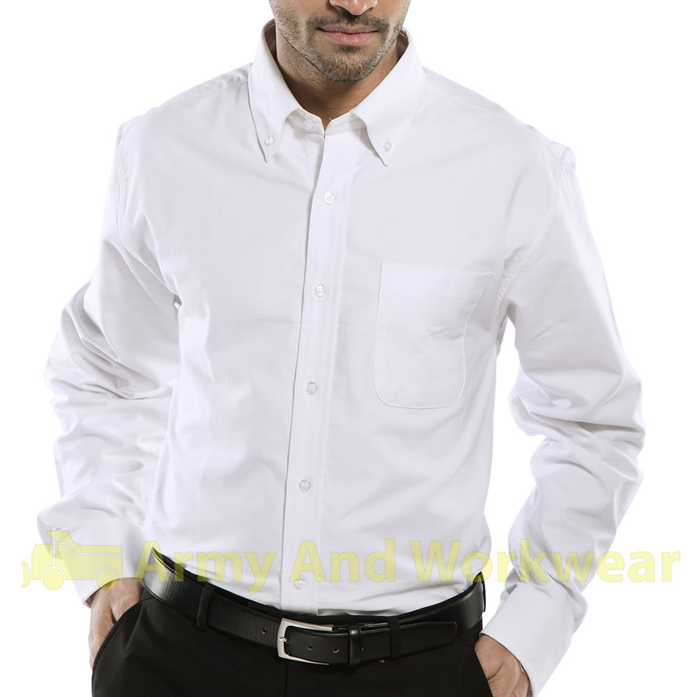 mens cotton oxford work shirt smart button collar