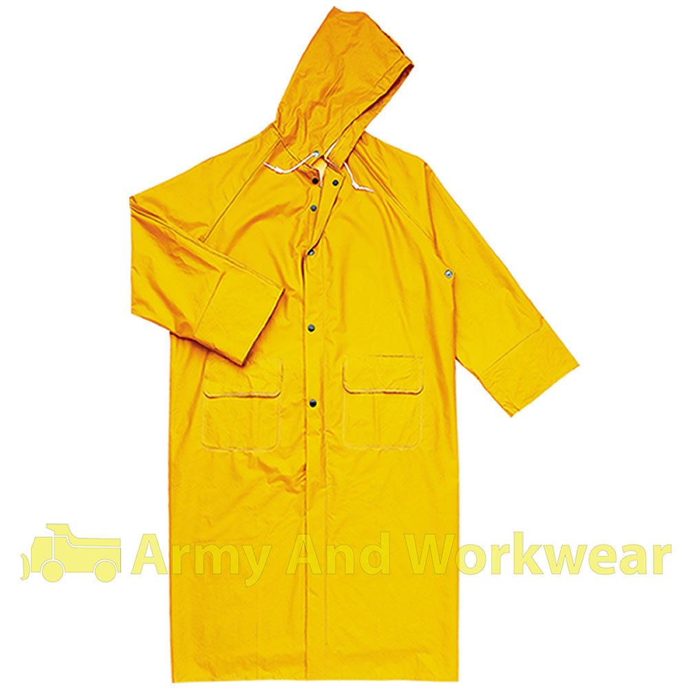 Delta Plus Waterproof Storm Jacket Mens PVC Coated Long Length ...