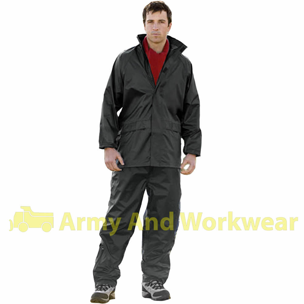 Pvc rain suit waterproof jacket trouser fishing hunting for Mens fishing rain gear
