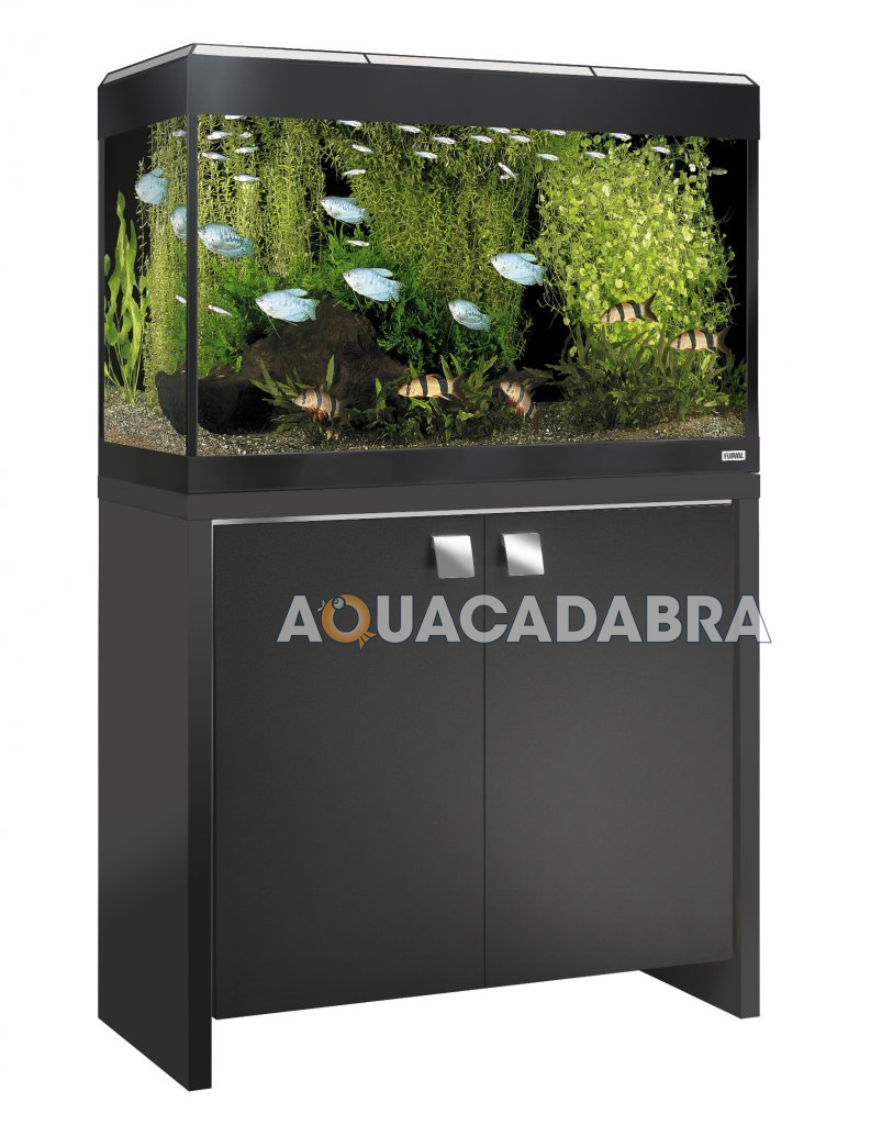 Fluval roma aquariums with cabinets black oak filter for Black light for fish tank