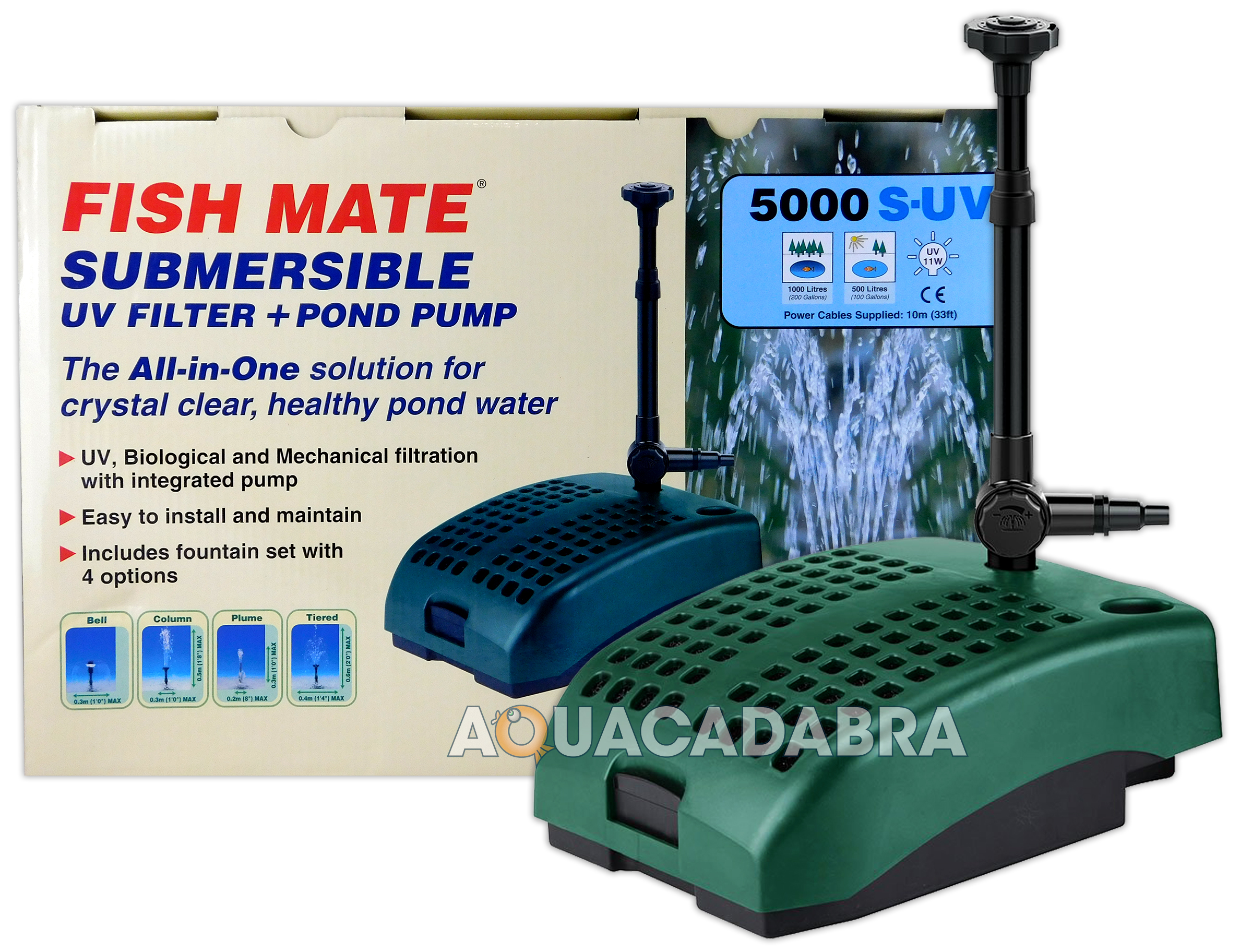 Fish mate 5000 suv submersible uv filter pump all in one for Set up pond filter system