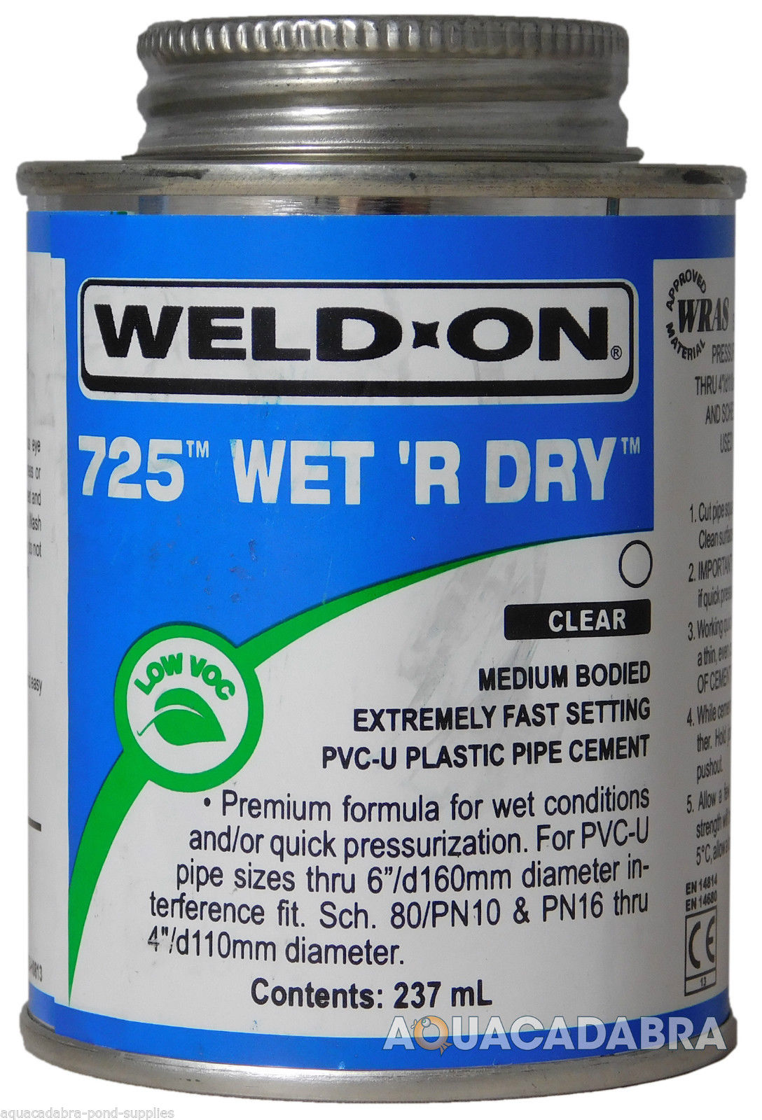 Weld On 725 Wet R Dry Plastic Pvc Filter Pipe Cement Glue Solvent Fish Pond Pool