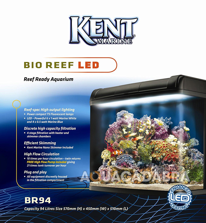 520l cabinet aquarium fish tank tropical - Kent Marine Bio Reef 94l Aquarium Reef Led
