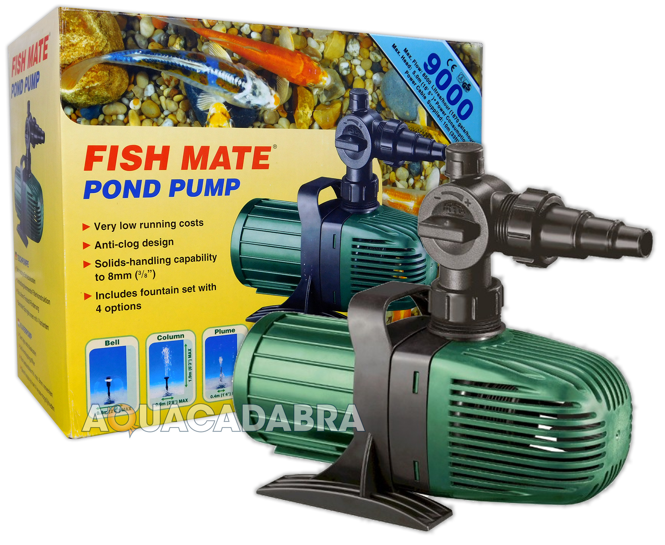 Fish mate 9000 l h koi fish pond water fountain filter for Fish pond pump