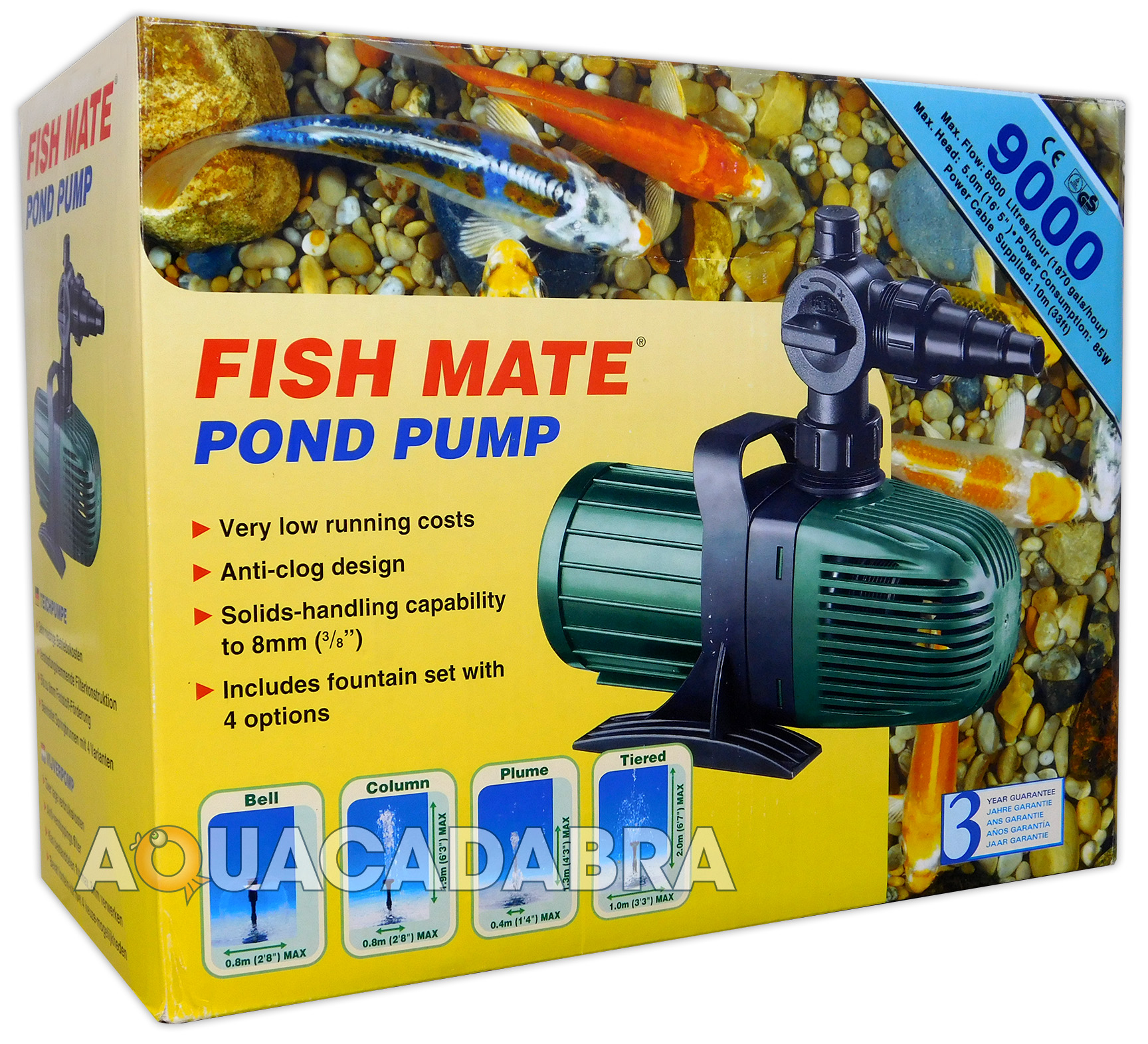 Fish mate 9000 l h koi fish pond water fountain filter for Koi pond water pump