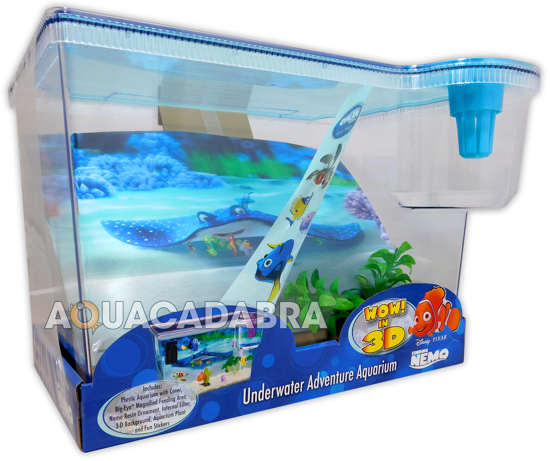 Fish in nemo aquarium - Finding Nemo 3d Aquarium 15l First Fish Tank Dory Disney With Background Lid