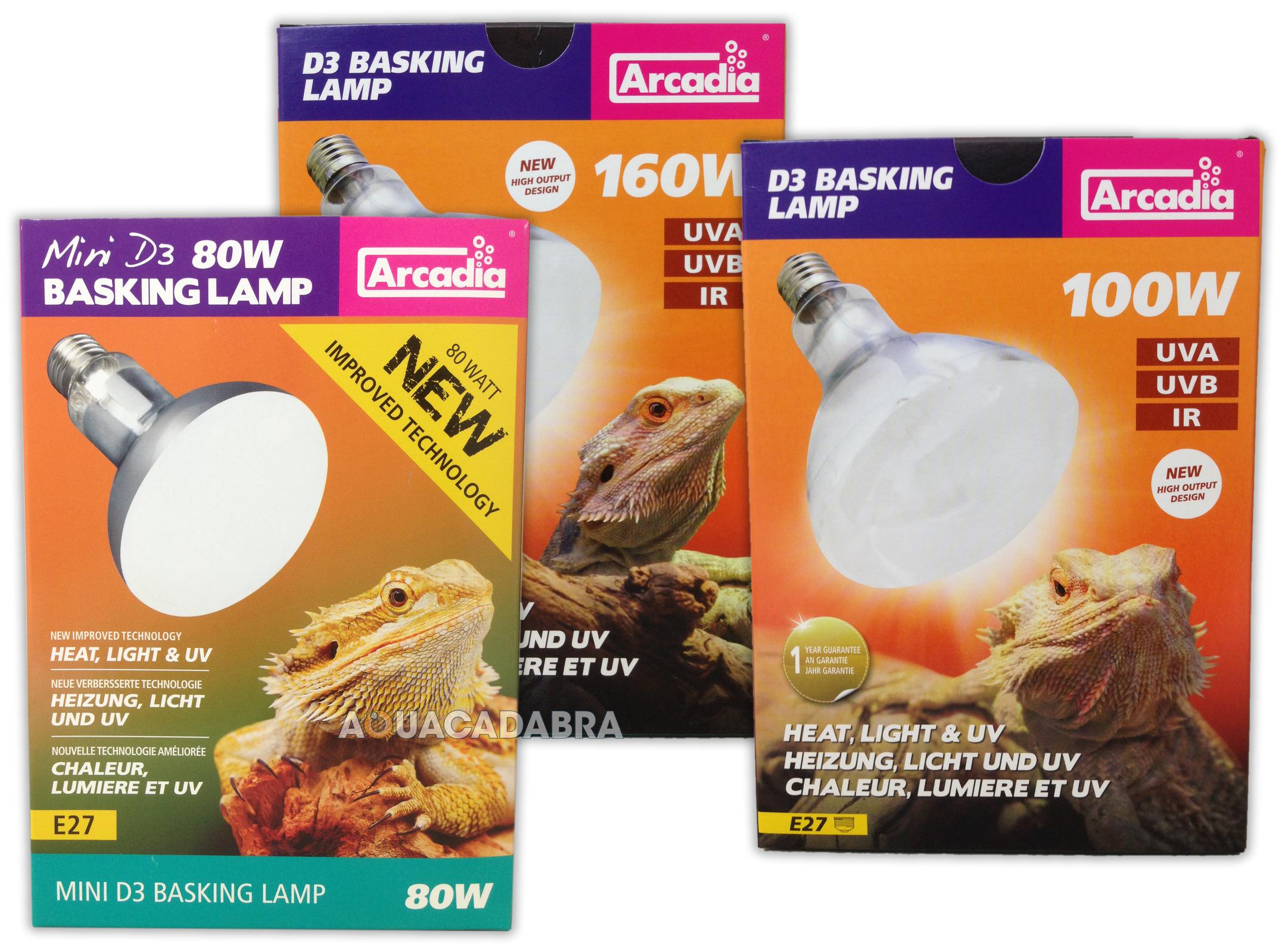 arcadia d3 reptile basking lamp 80w 100w 160w heat light. Black Bedroom Furniture Sets. Home Design Ideas