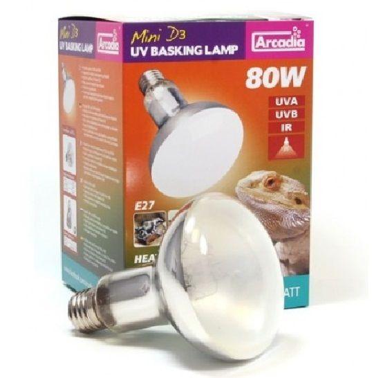 Arcadia D3 Reptile Basking Lamp 80w 100w 160w Heat Light