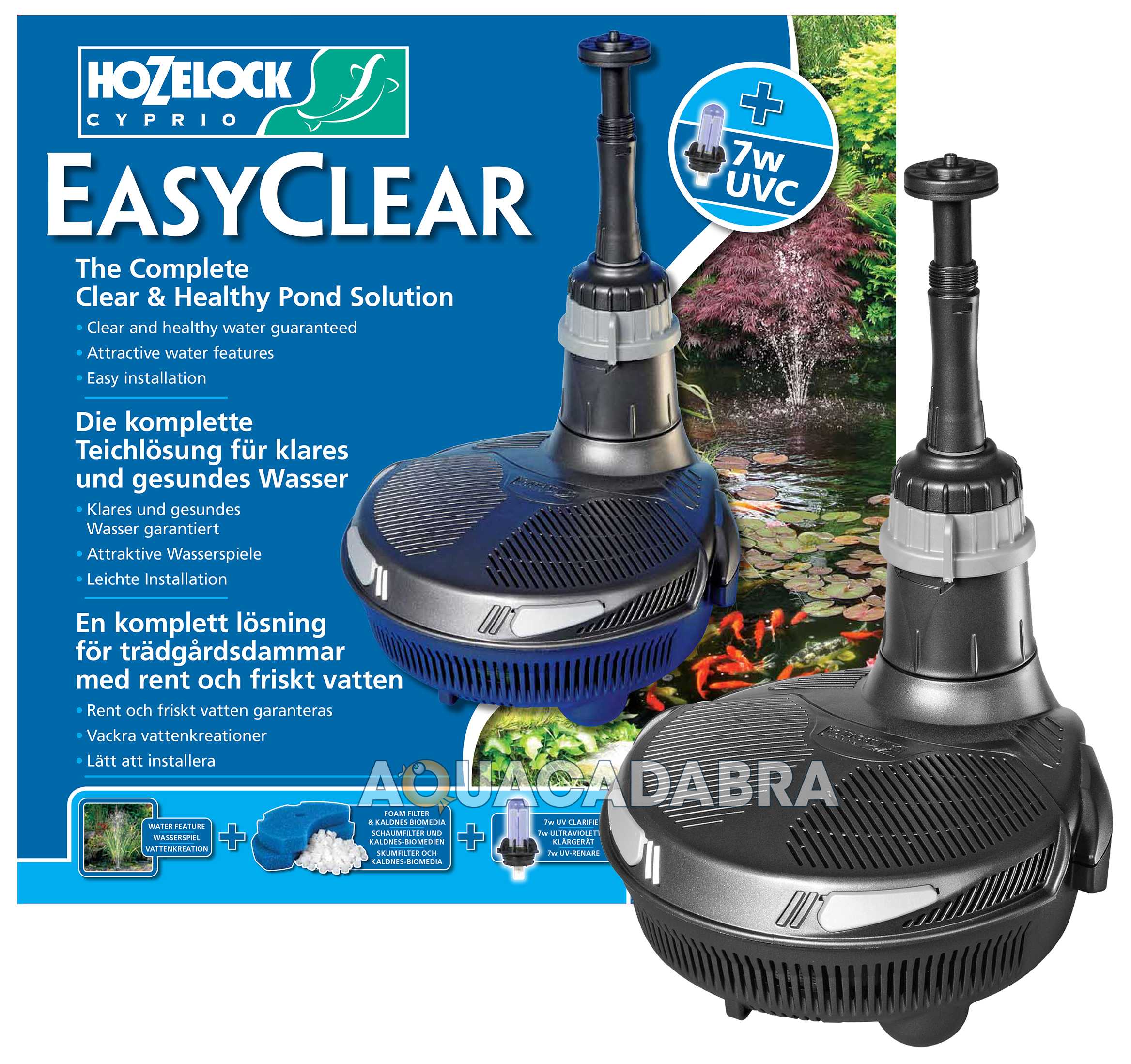 Hozelock easyclear 4500 fish koi pond all in one kit pump for Koi pond pump and filter kits
