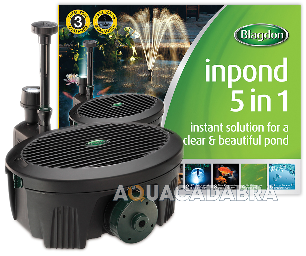 Blagdon inpond 2000 5 in 1 5w filter pump uvc uv koi for Small pond uv filter