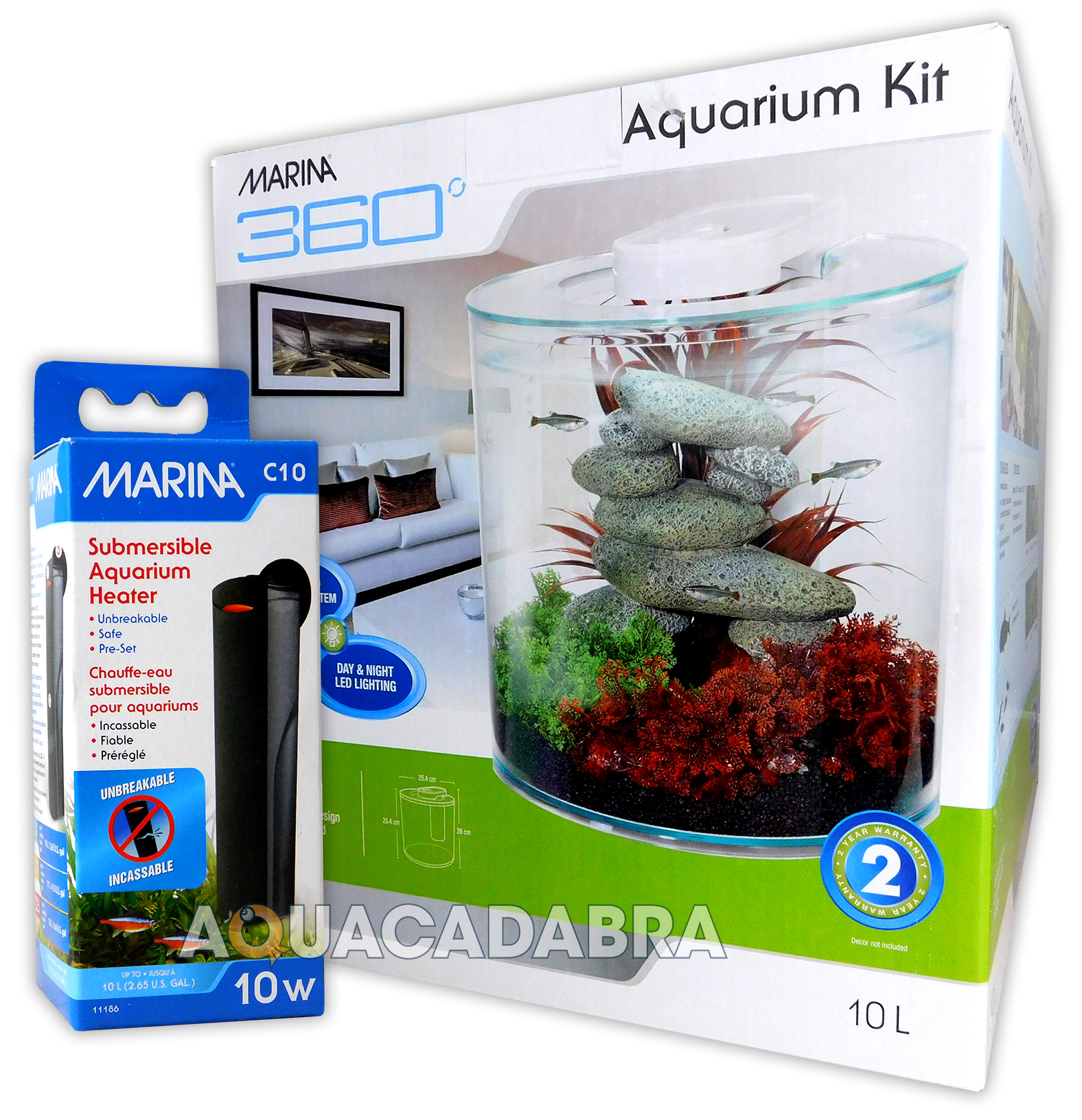 Marina 360 aquarium kit with heater tropical fish tank 2 for Two gallon fish tank