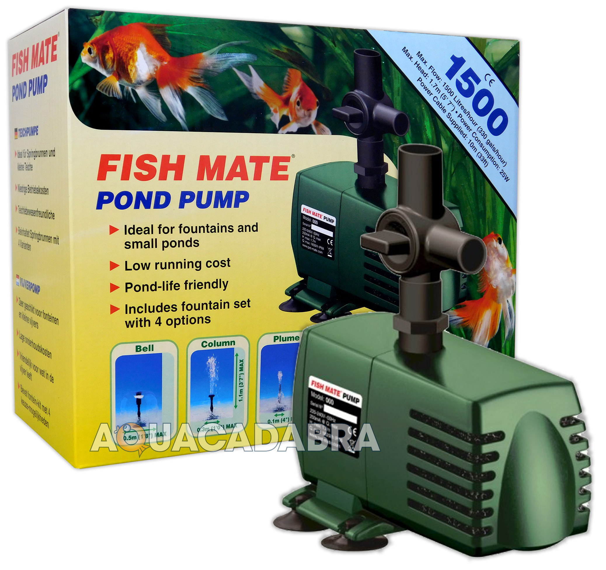Fish mate 1500 fountain pump koi fish garden pond flow for Outdoor fish pond filters and pumps