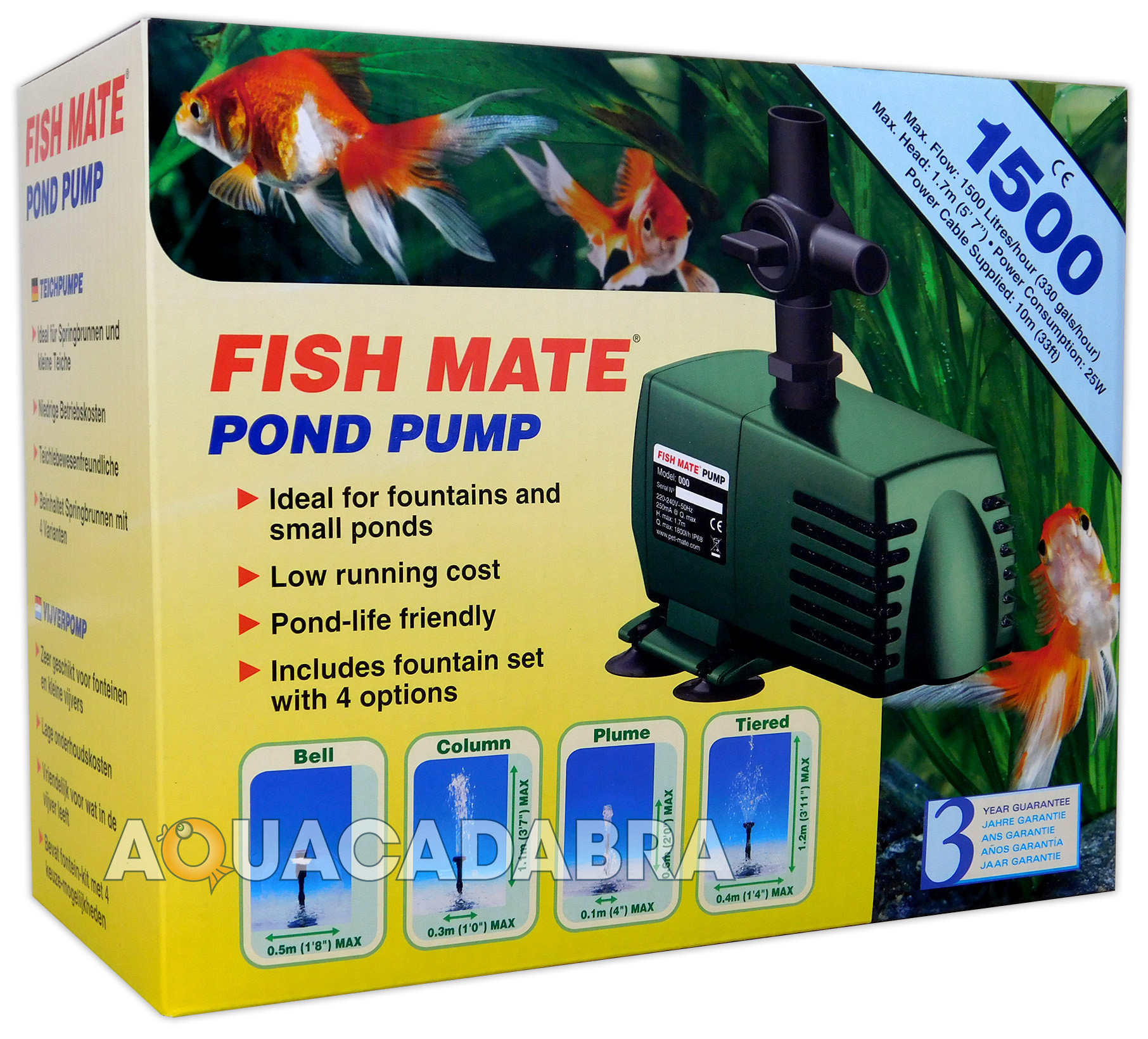 Fish mate 1500 fountain pump koi fish garden pond flow for 1500 gallon koi pond