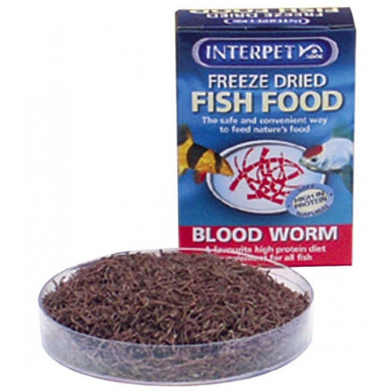 Interpet freeze dried fish food blood worm red protein for All fish diet