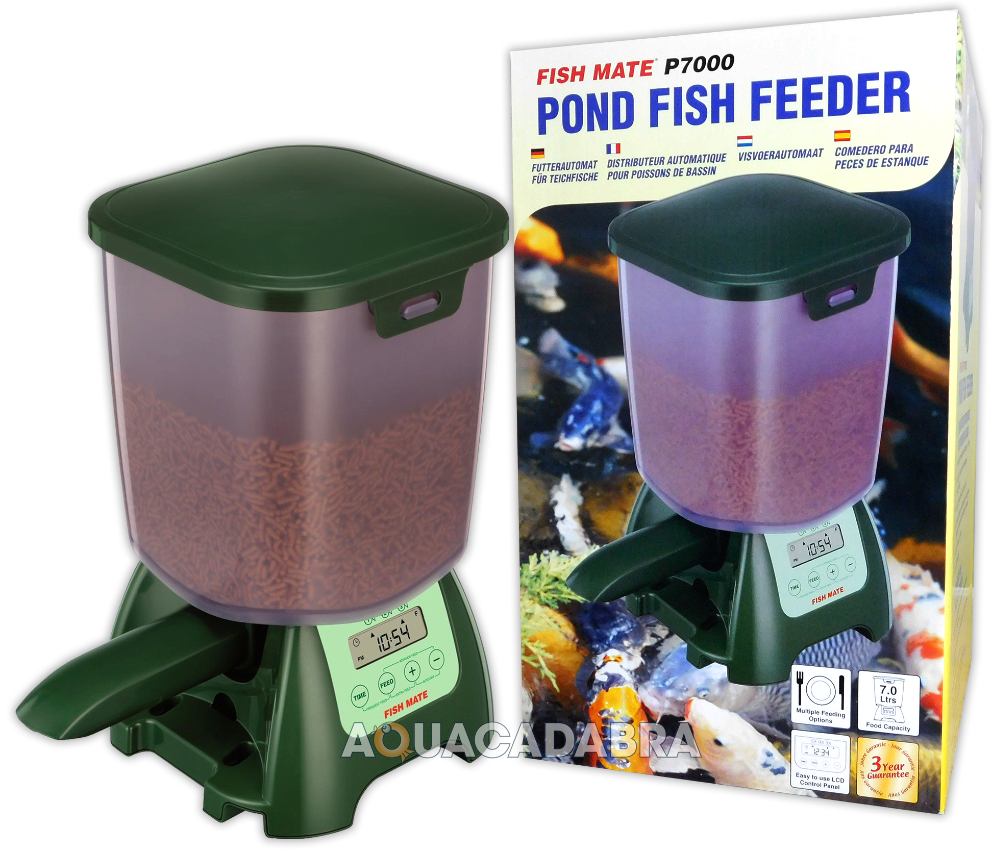Fish mate p7000 auto koi pond fish food holiday feeder for Koi auto feeder