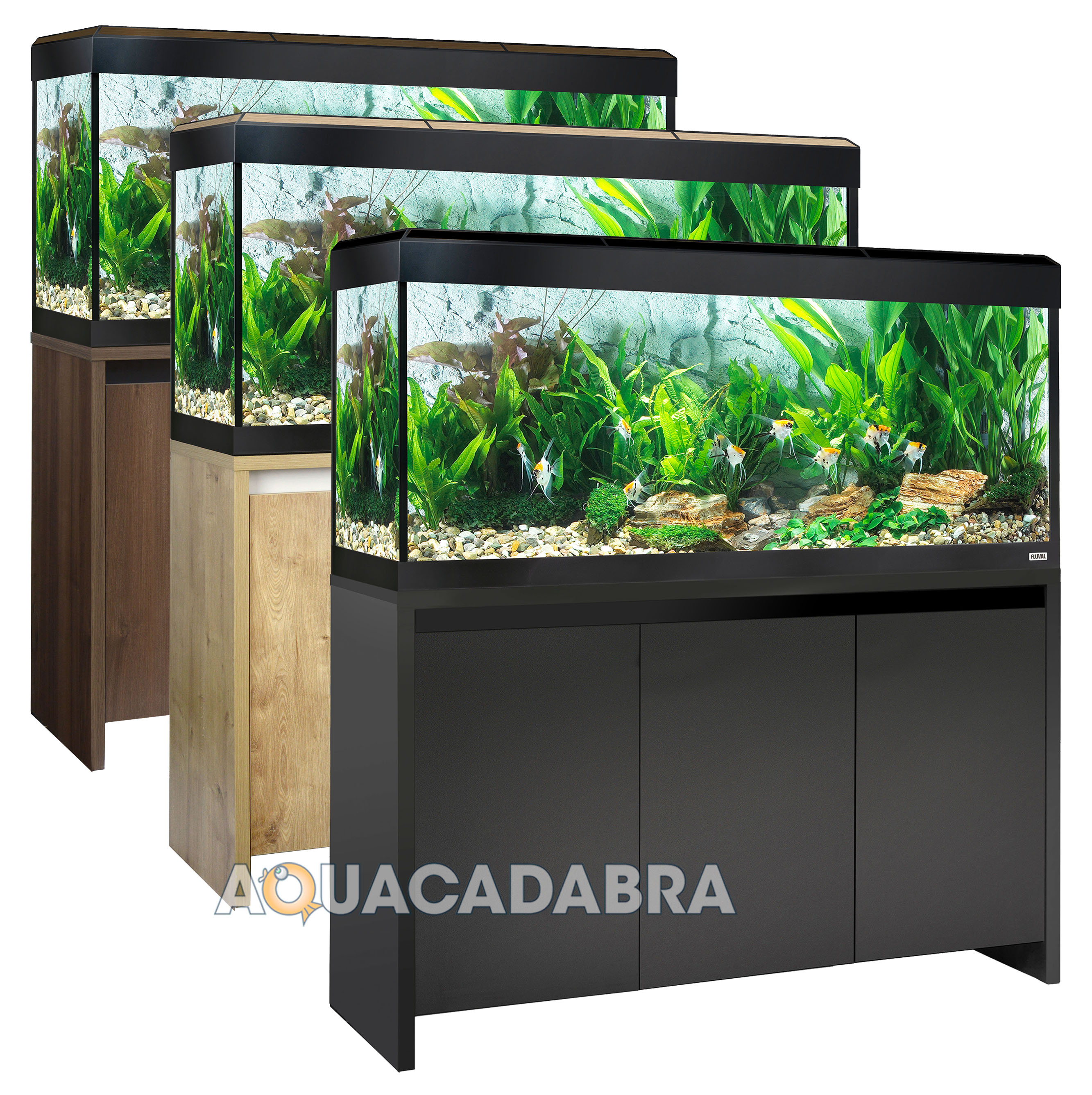 Fluval roma led aquariums 90 125 200 240l oak walnut black for Fluval fish tank