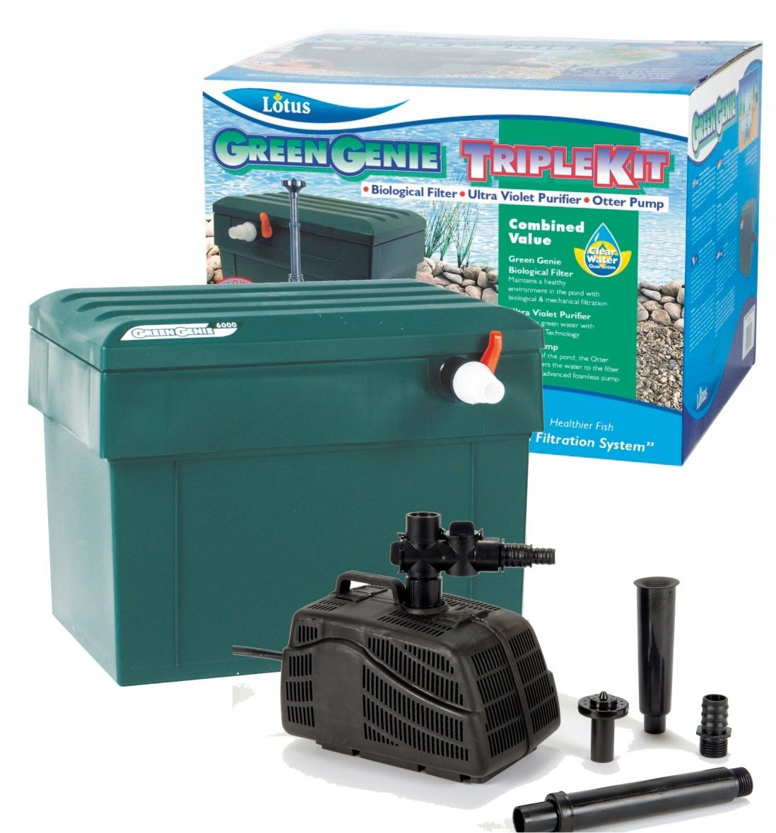 Lotus green genie 3000 filter pump uv clarifier triple for Goldfish pond pump