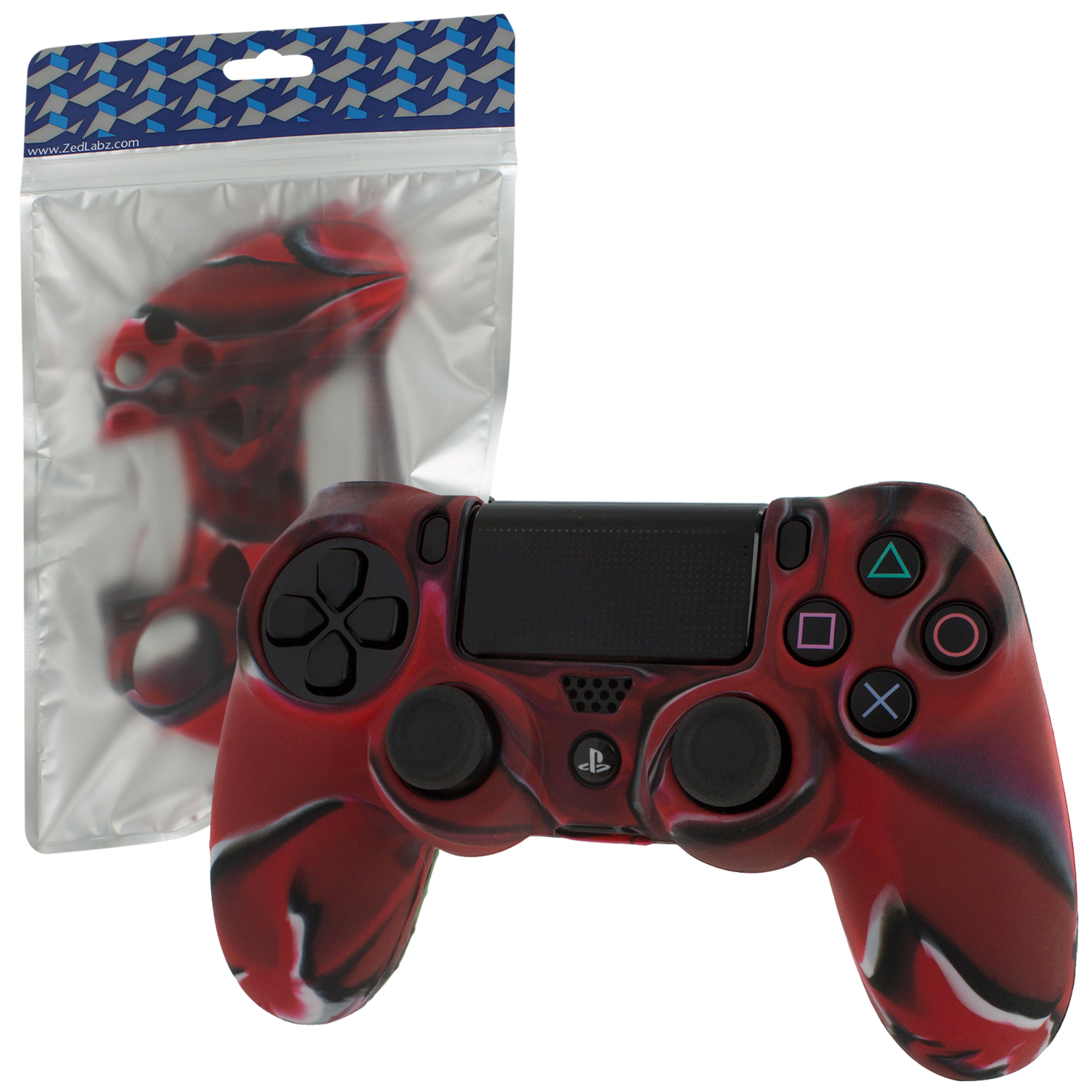 Zedlabz Soft Silicone Rubber Skin Grip Cover For Sony Ps4 Controller With Ribbed Handle - Camo Red
