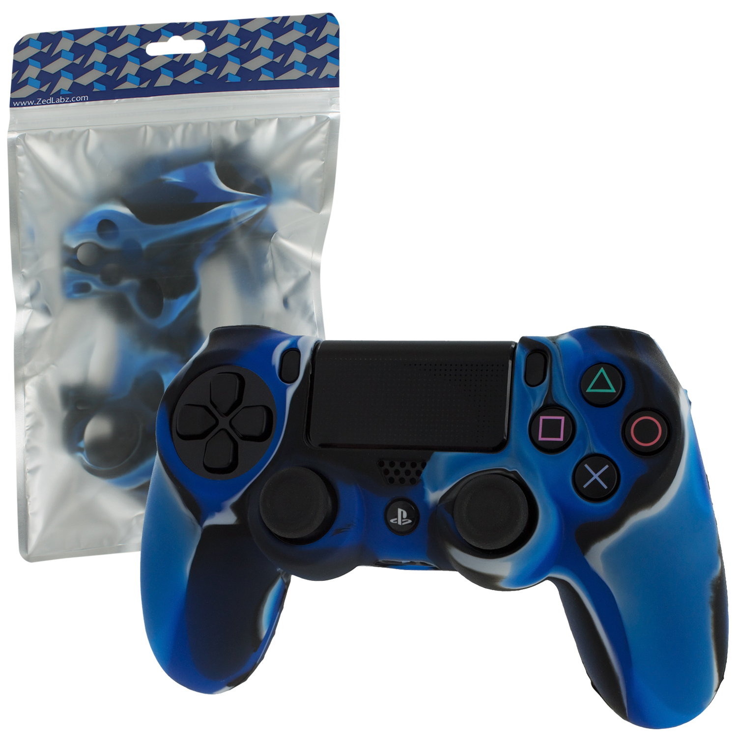 Zedlabz Soft Silicone Rubber Skin Grip Cover For Sony Ps4 Controller With Ribbed Handle - Camo Blue