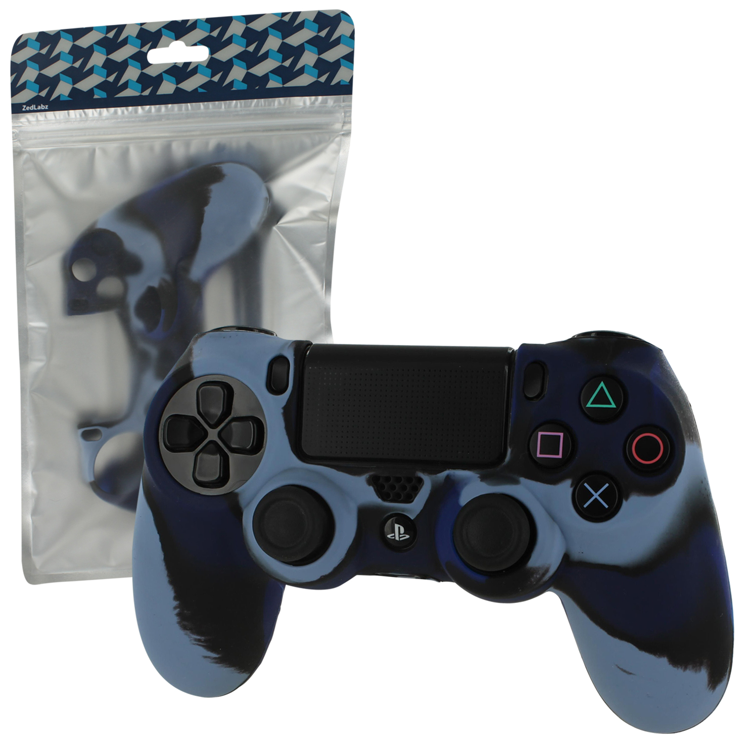 Zedlabz Silicone Rubber Skin Grip Cover For Sony Ps4 Controller With Ribbed Handle - Camo Dark Blue