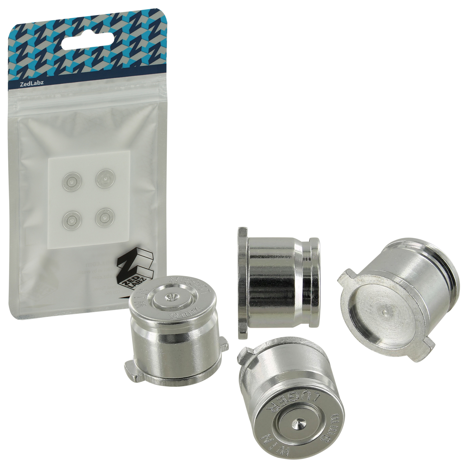 Zedlabz Aluminum Metal Action Bullet Button Set For Sony Ps4 Controllers - Silver
