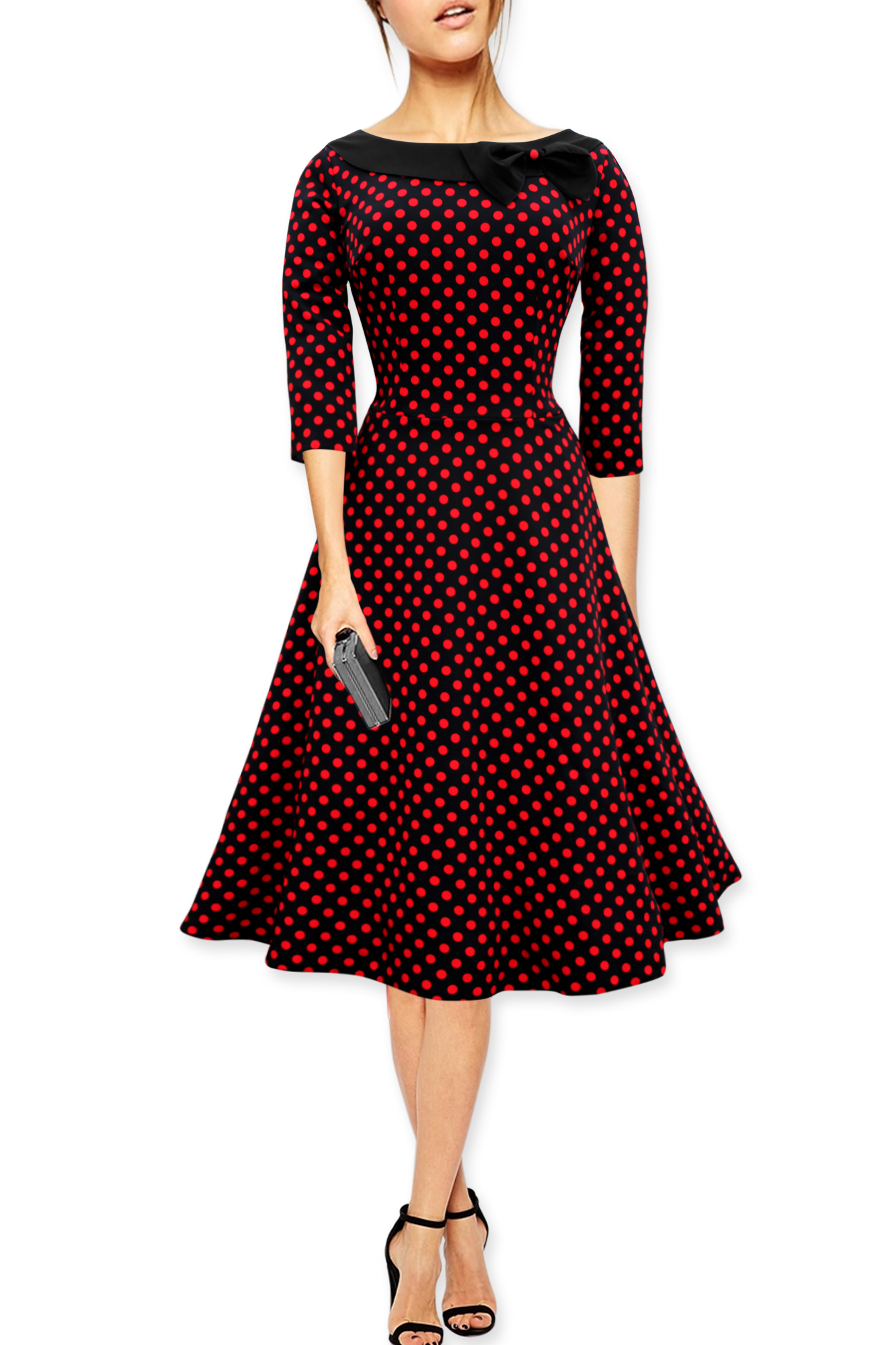 39 iris 39 polka dot collared vintage 1950 39 s rockabilly swing for Rockabilly outfit damen