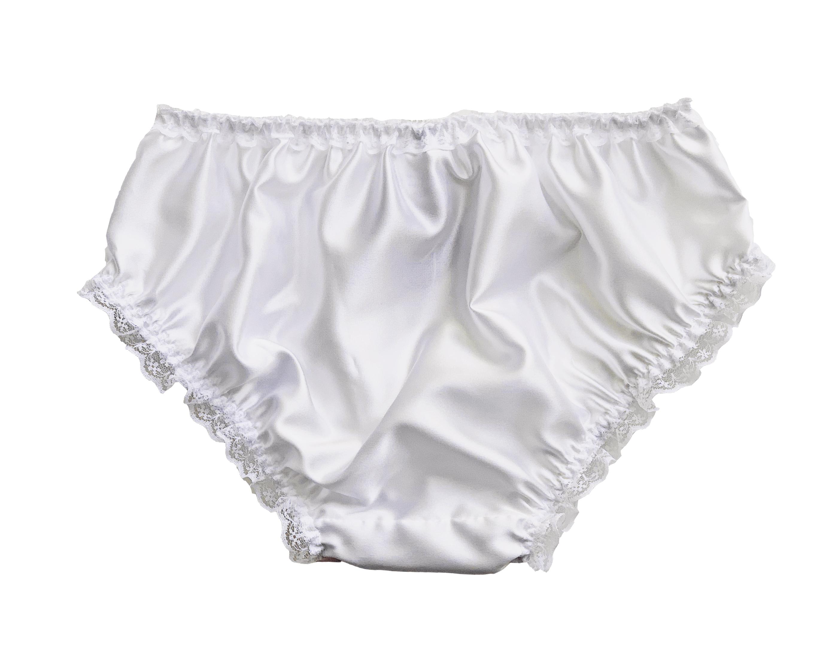 White Satin Frilly Lace Trim Sissy Panties Knicker Underwear Briefs Size 10-20