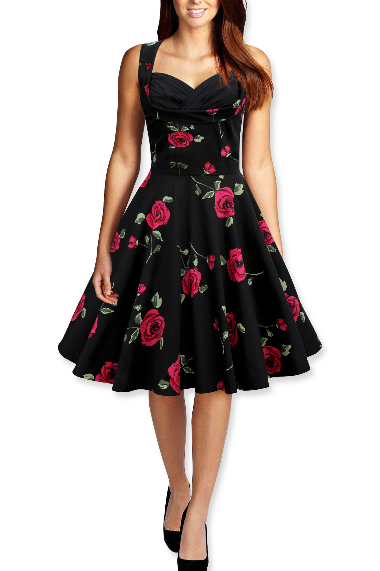 CLASSIC-VINTAGE-STYLE-1950s-FULL-CIRCLE-ROCKABILLY-SWING-DRESS-SIZE-8-26