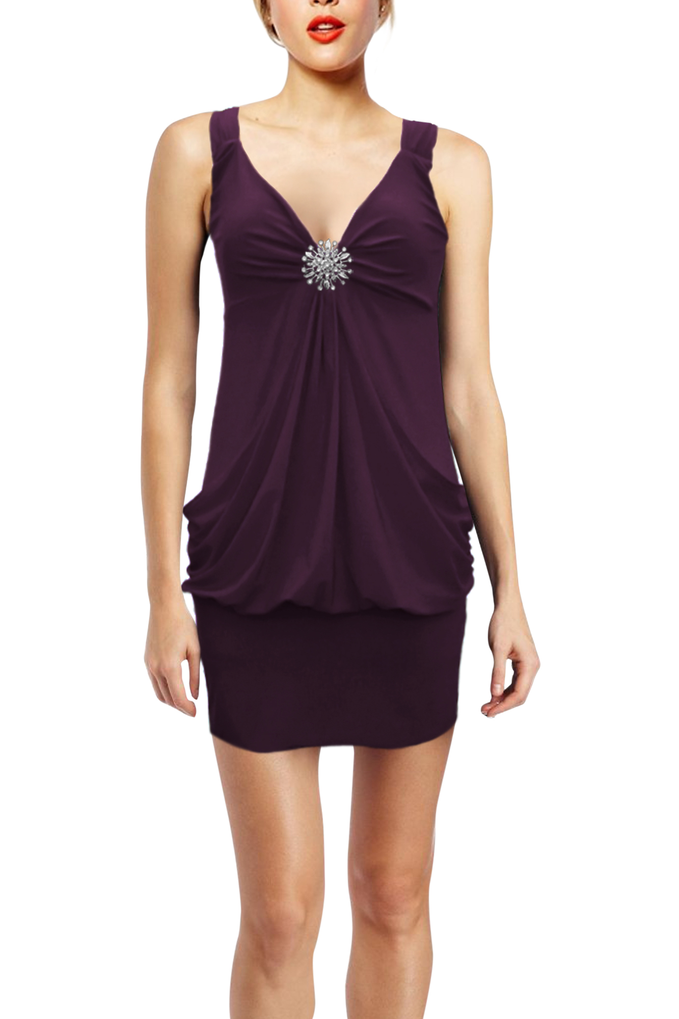 New Stunning Cocktail Party Clubwear Evening Dress Baggy Broach Top Size 12 - 24 | EBay