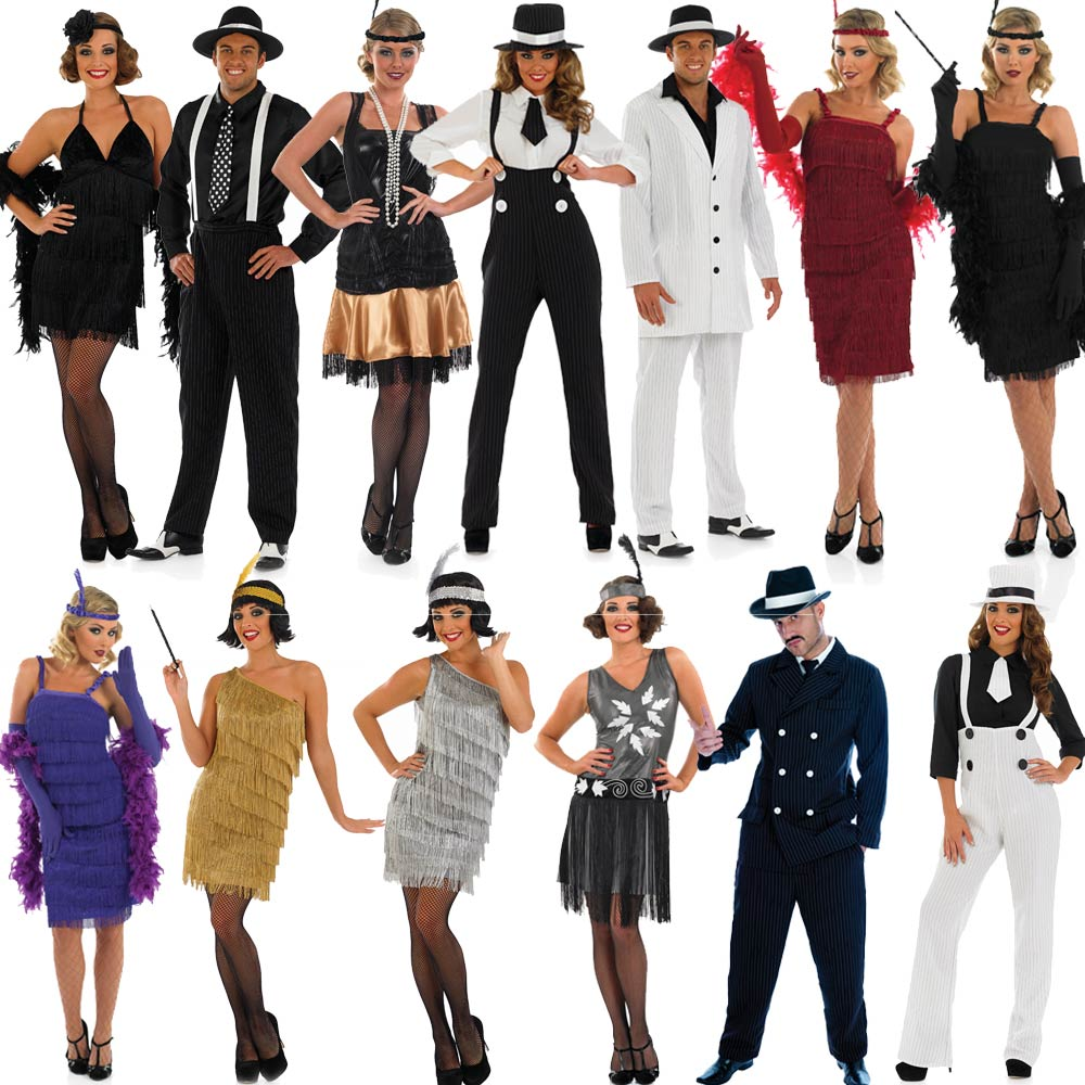 20s fancy dress mens ladies 1920s gangster costume