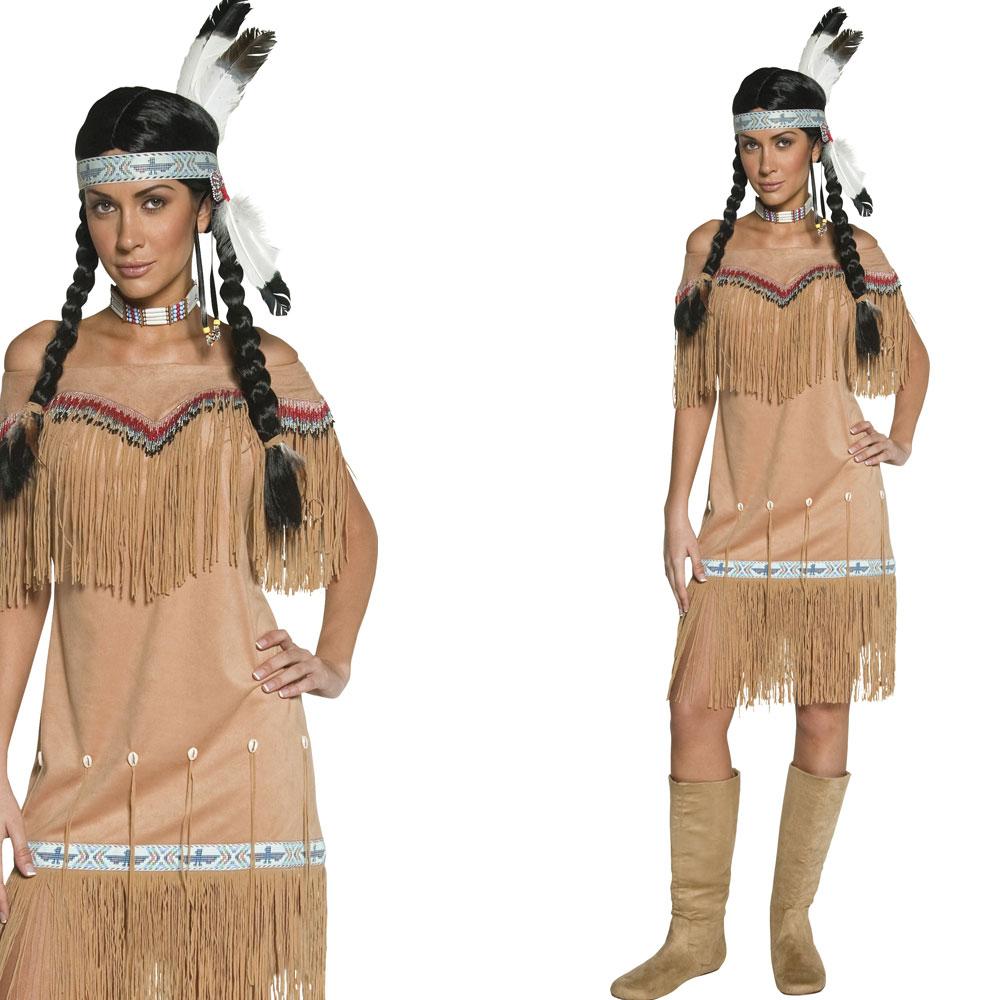 rote indianer frau damen kost m fancy dress cowboys indianer anzug ebay. Black Bedroom Furniture Sets. Home Design Ideas