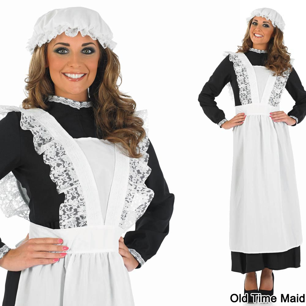Ladies-Maid-Fancy-Dress-Costume-Womens-Sexy-French-Long-Victorian-Outfit