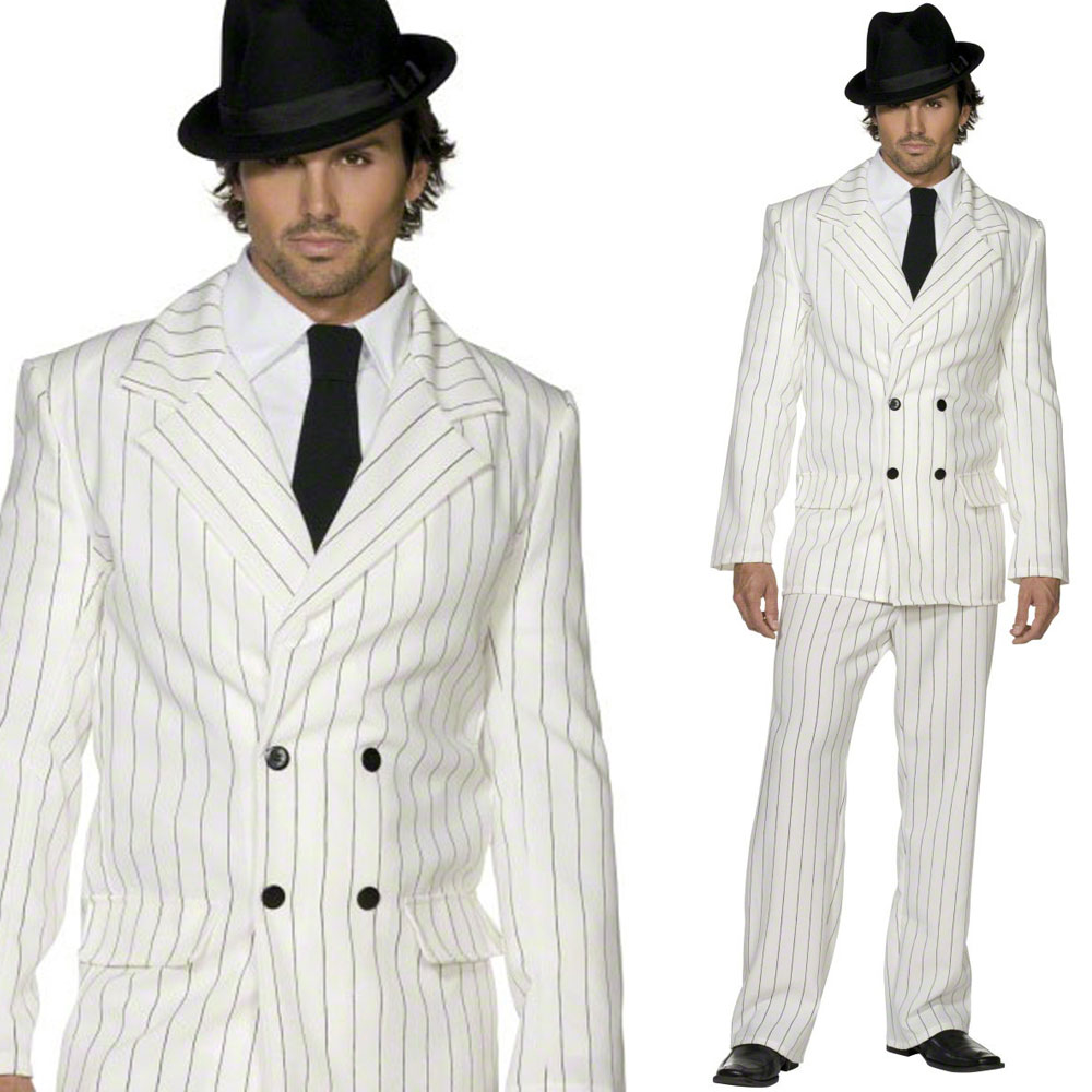 mens 1920s gangster suit fancy dress costume 20s white