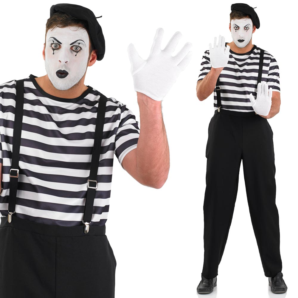 French Mime Costume Diy: Mens Womens Circus Mime Fancy Dress