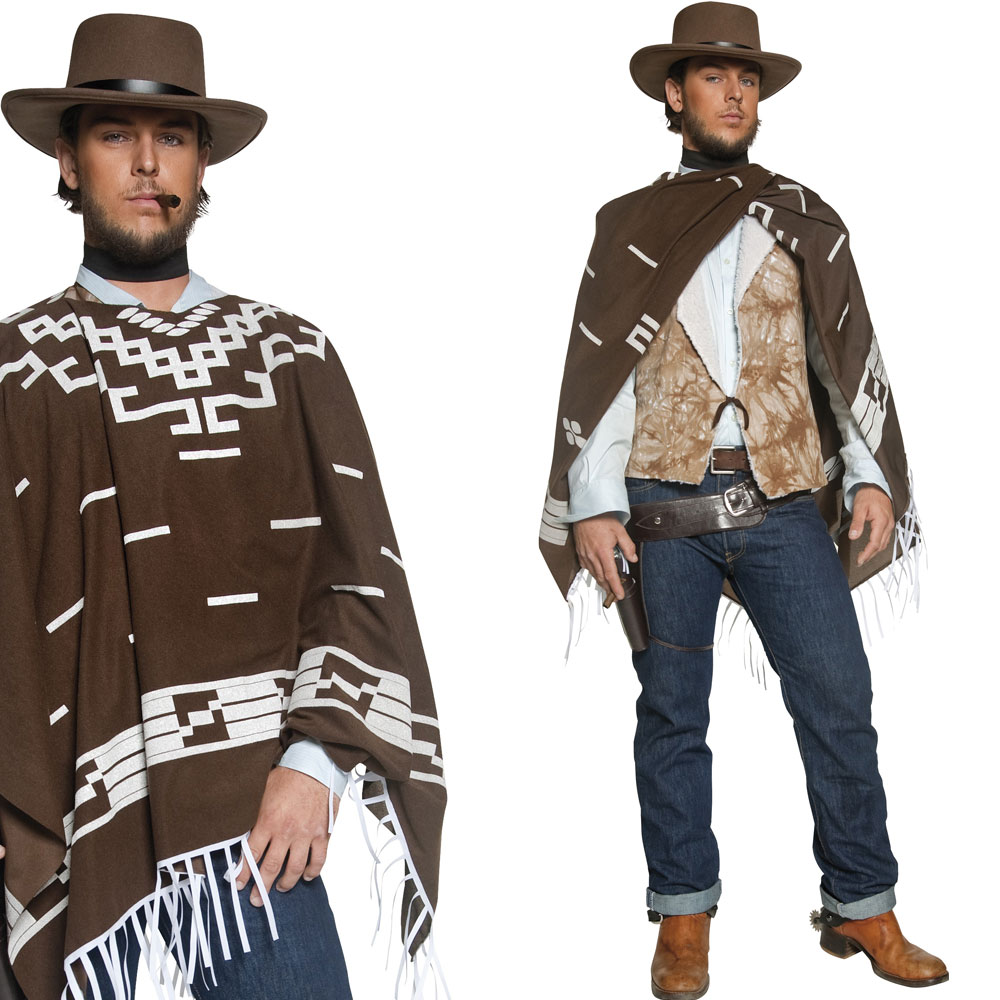 Mens Poncho Cowboy Fancy Dress Costume Western Wild West Cow Boy Outfit