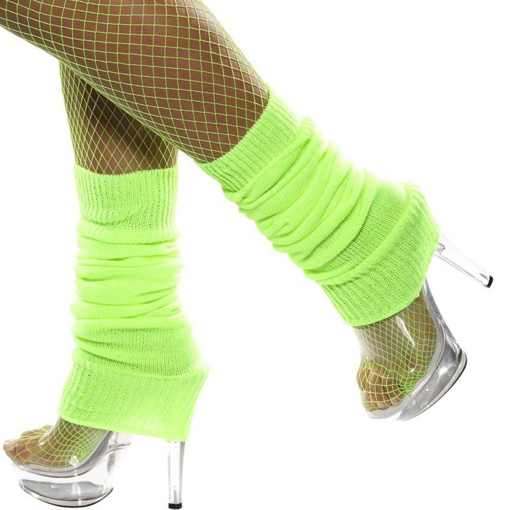 LADIES NEON LEG WARMERS BLUE GREEN ORANGE PINK YELLOW 80s FANCY DRESS LEGWARMERS