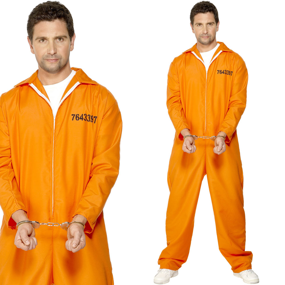 Mens Convict Fancy Dress Costume Orange Prison Jumpsuit Inmate ...
