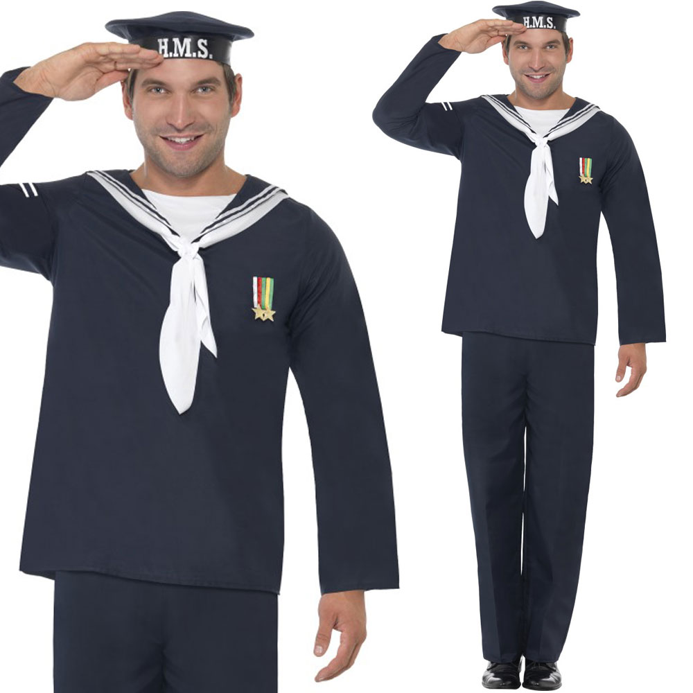 Mens-1940s-Navy-Fancy-Dress-Costume-World-War-2-Naval-Uniform-Army-Outfit
