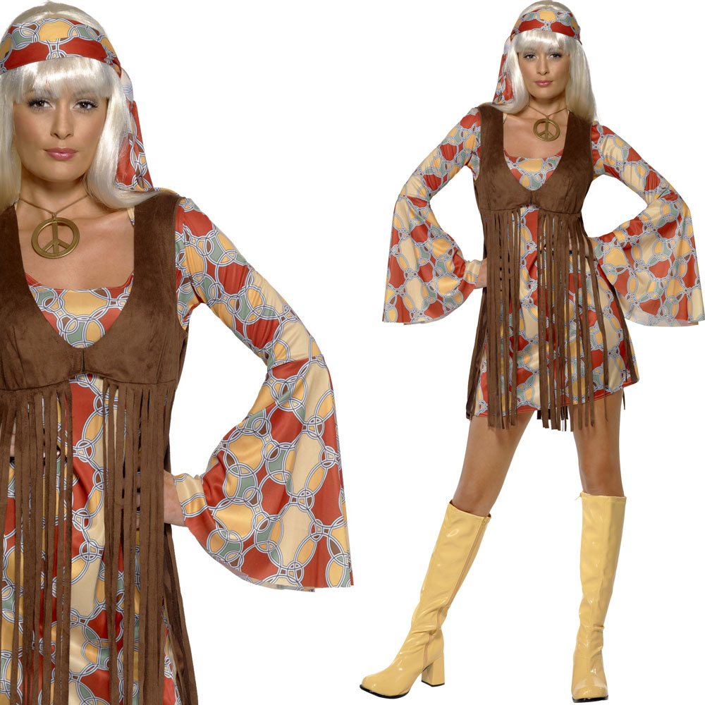 kost m damen hippie 1960er 60er jahre outfit kleid fasching party ebay. Black Bedroom Furniture Sets. Home Design Ideas