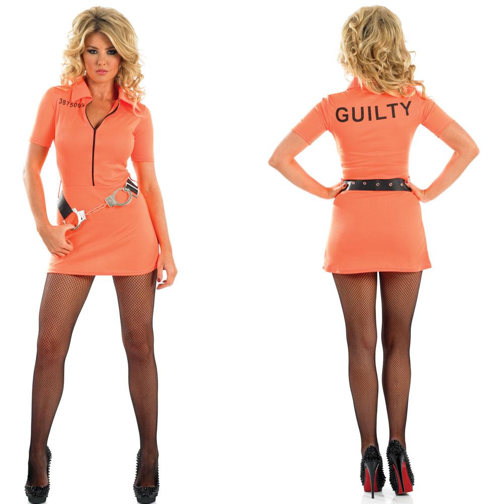 MENS / LADIES ORANGE CONVICT PRISONER FANCY DRESS COSTUME   ...