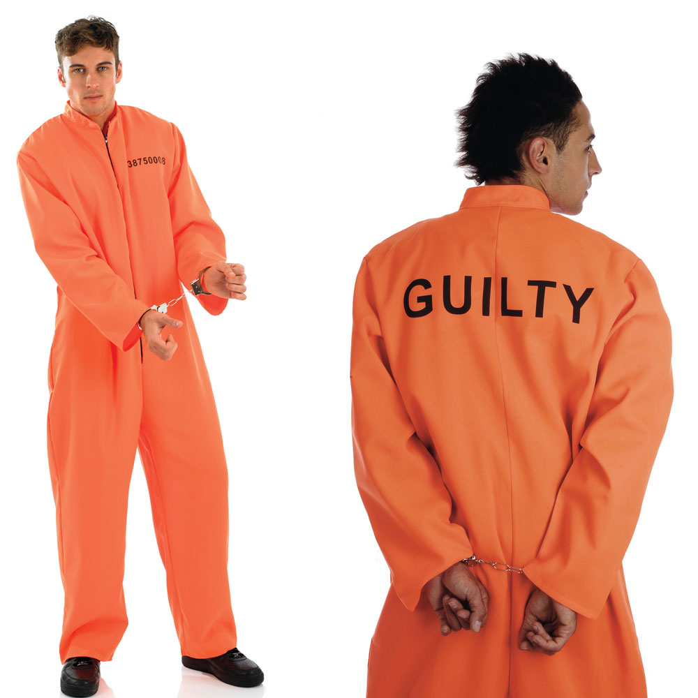 MENS / LADIES ORANGE CONVICT PRISONER FANCY DRESS COSTUME   HANDCUFFS