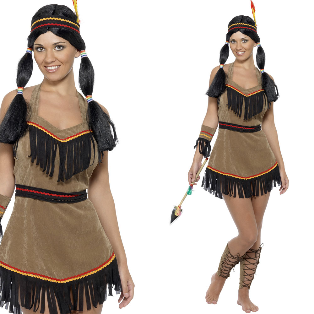damen indianer kost m fancy dress indianer squaw wilder westen ebay. Black Bedroom Furniture Sets. Home Design Ideas