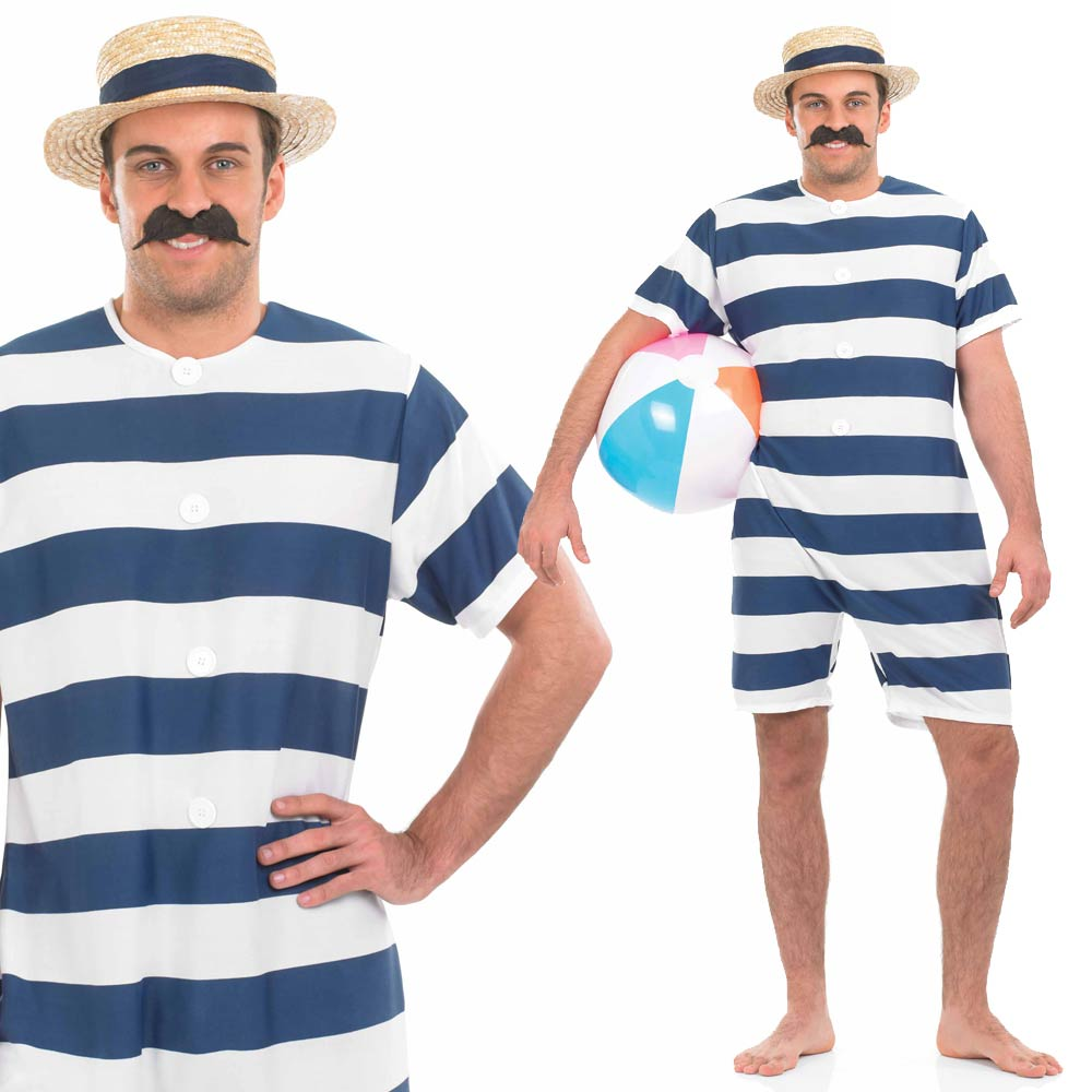 Adult-Victorian-Fancy-Dress-Costume-Mens-Ladies-Bathing-Suit-Swimming-Costume